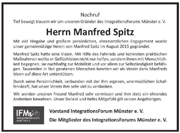 Nachruf Manfred Spitz
